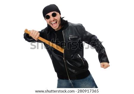 Aggressive man with baseball bat on white - stock photo