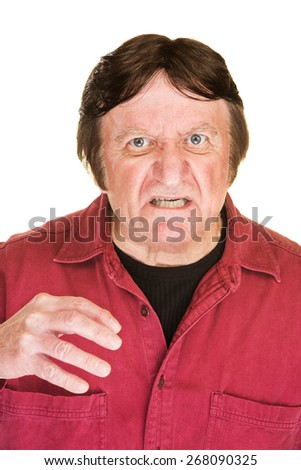 Aggressive middle aged man over white background