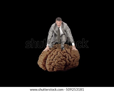 Aggressive mind businessman