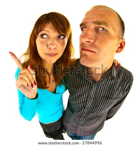 Aggressive pair photographed by the fish eye - stock photo