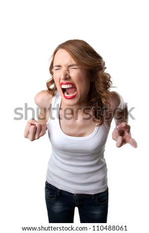 aggressive woman in tank top cry isolated - stock photo