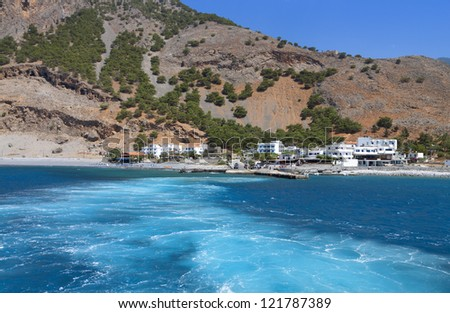 Aghia Roumeli bay and the exit of Samaria gorge at Crete island in Greece - stock photo