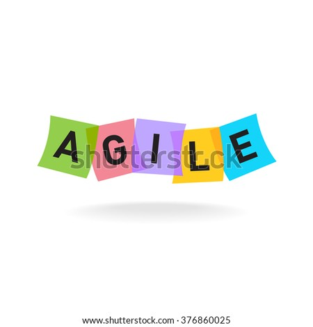 Agile word logo. Agile letters with overlay color square office stickers. Transparency are flattened. - stock photo