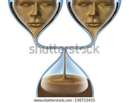 Aging group and getting old together as as a partner couple represented by an hourglass shaped as two human heads losing time and relationship isolated on a white background. health and - stock photo