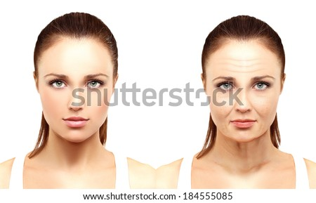 Aging. Mature woman-young woman. - stock photo
