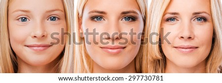 Aging process. Composition of three images with blond hair women of different ages looking at camera and smiling - stock photo