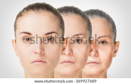 Aging process, rejuvenation anti-aging skin procedures old and young concept - stock photo
