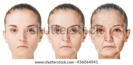 Aging process, rejuvenation anti-aging skin procedures. Old and young faces isolated on white background - stock photo