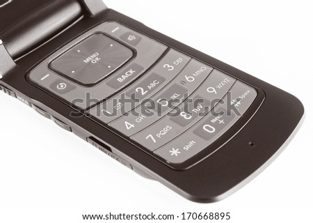 Aging technology concept with selective focus on a mobile phone./Mobile Phone - stock photo