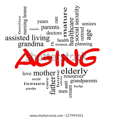Aging Word Cloud Concept in red caps with great terms such as seniors, elderly, adults, social and more.