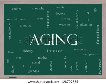 Aging Word Cloud Concept on a Blackboard with great terms such as seniors, elderly, adults, social and more. - stock photo