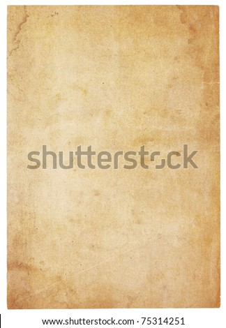 Aging, worn paper with water stains and  rough edges. Blank with room for text or images. Isolated on White. Includes clipping path.