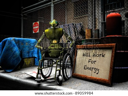 Aging worn robot down on its luck sits in a wheelchair at night on a city street corner. Next to the robot a sign will work for energy. leans against rusting oil barrels and other discarded items. - stock photo