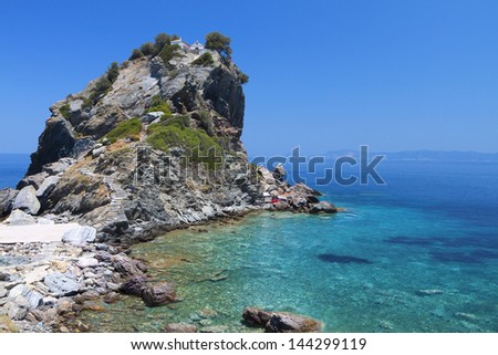 Agios Ioannis chapel at Skopelos island in Greece - stock photo