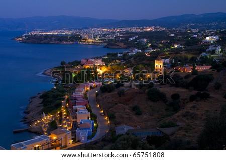 Agios Nikolaos at the evening. Crete. Grece. - stock photo