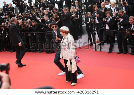 Agnes Varda attends he screening of 'The BFG' at the annual 69th Cannes Film Festival at Palais des Festivals on May 14, 2016 in Cannes, France. - stock photo