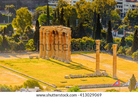 Agora of Athens, view from the Acropolis of Athens. UNESCO World Hetiage site. - stock photo