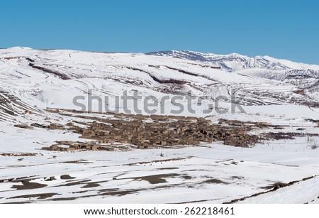 Agoudal, the highest village in Morocco, Africa. High Atlas range, winter season. - stock photo