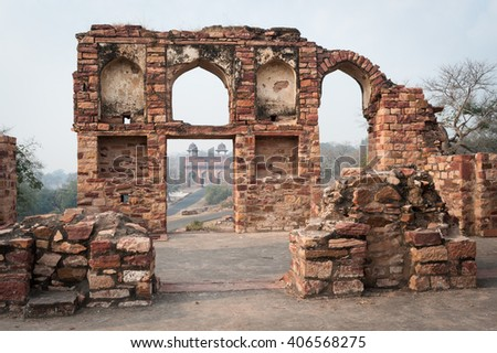 Agra gate view through door ruins, Fatehpur Sikri, India - stock photo