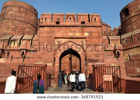 Agra, India - 7 December, 2013: Visitor at Amar Singh Gate of Agra Fort - stock photo