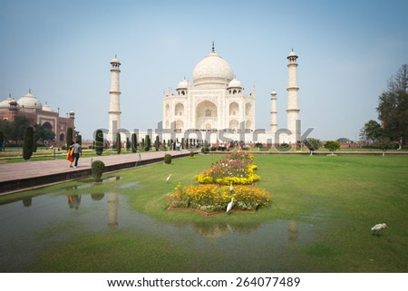 AGRA, INDIA - Feb 26, 2015: The people visit Taj Mahal, Agra, India.The Taj Mahal is a mausoleum located in Agra, India and is one of the most recognizable structures in the world.