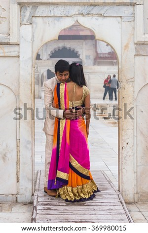 AGRA, INDIA - JAN 21, 2016: Unidentified Indian man and girl going to get married. Many Indian people suffer of poverty in the country
