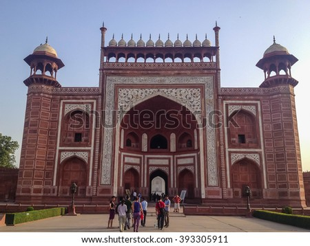 AGRA, INDIA - JUL 12 : Unidentified tourist at entrance Hall of Taj Mahal, Agra, India on July 12, 2014