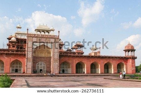 AGRA, INDIA - SEPTEMBER 22, 2008: Tomb of Akbar the Great in Agra, Uttar Pradesh, India, an important Mughal masterpiece built in the early 17th Century. - stock photo