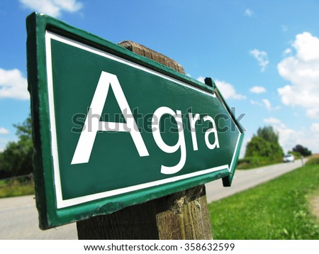 Agra road sign