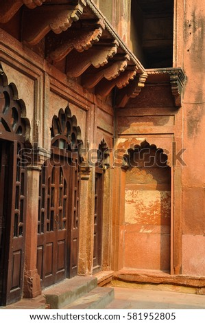 Agra, Uttar Pradesh, India - Circa October 2010 - A shot of the building detailings of the Agra Fort