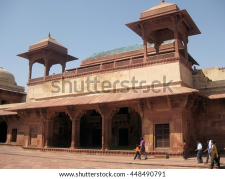 Agra, Uttar Pradesh, India - October 2011: Entrance to Queen's Palace in the Fatehpur Sikri Palace, a UNESCO World Heritage. - stock photo