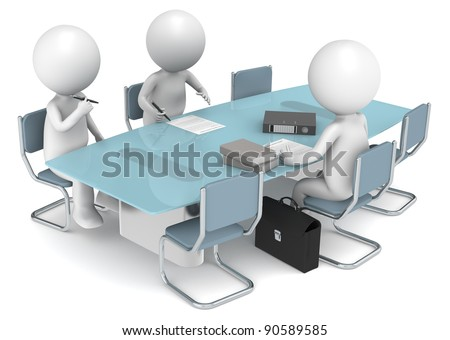 Agreement. 3D little human characters X3 signing papers. Business People series.