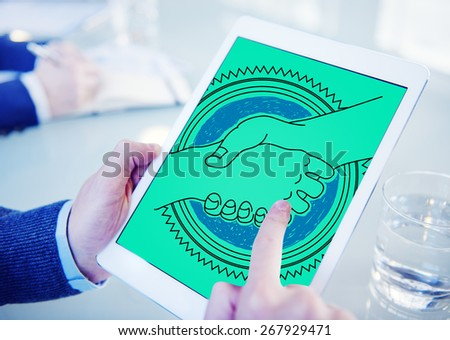 Agreement Greeting Handshake Partnership Team Concept - stock photo