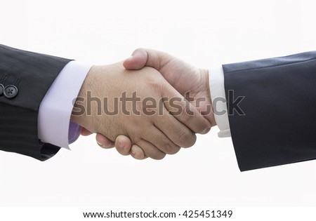 Agreement handshake: business handshake isolated on white background, handshake for business concept of getting deal done, handshake as a verbal agreement used in business norm handshake agreement.