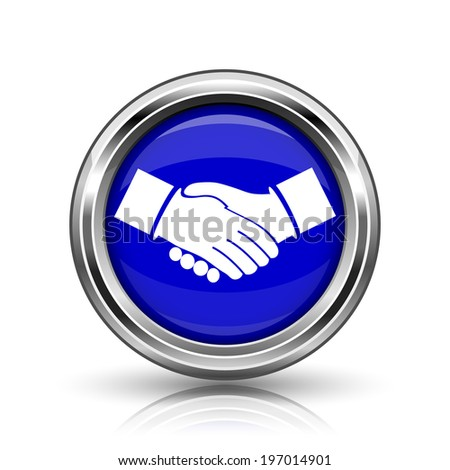 Agreement icon. Shiny glossy internet button on white background.  - stock photo