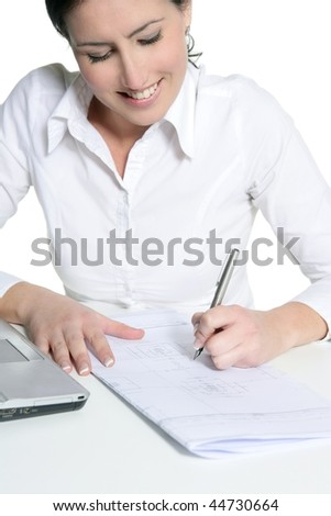 Agreement sign woman signing document isolated on white - stock photo