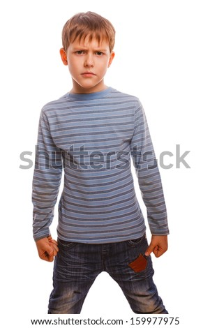 agresivny child evil rastroennyh displeased blond boy in the striped sweater clenched his fists isolated on white background - stock photo