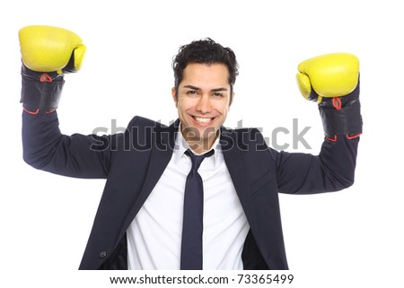 Agressive Businessman with boxing gloves, isolated on white - stock photo