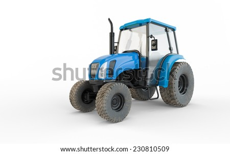 Agricultural blue tractor isolated on white background  - stock photo