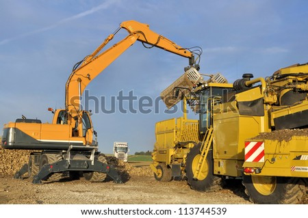 agricultural equipment for sugar beets transportation - stock photo
