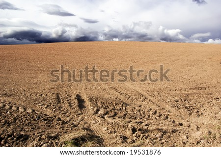 agricultural field with tire tracks - stock photo