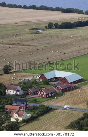 Agricultural fields and farm in Sweden