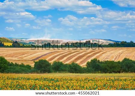 Agricultural Fields near Devnya, Varna Province, Bulgaria - stock photo