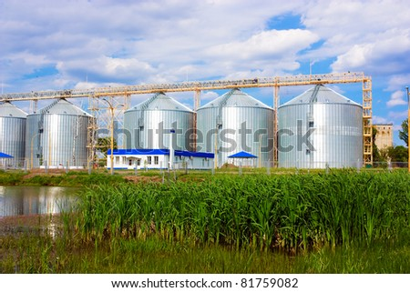 Agricultural grain elevator building for corn storage. - stock photo