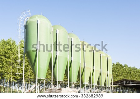Agricultural green silos. Silos for animal food.