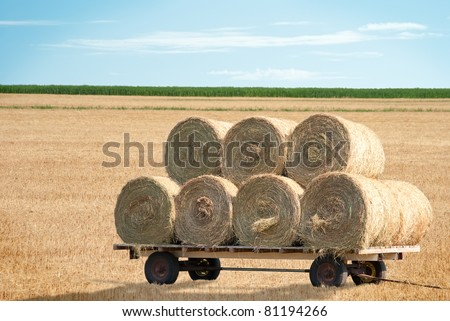 Agricultural hay wagon in farm field - stock photo