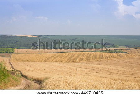 Agricultural Land with a harvested field, farm road, trees, forests and mountains - stock photo
