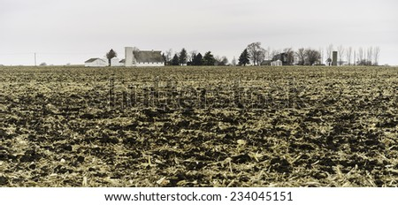 Agricultural landscape after harvest: Flattened cornfield under a wintry sky, with farm buildings and trees in the background, northern Illinois in November - stock photo