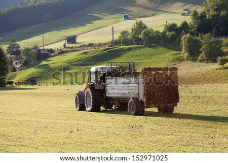 Agricultural scene of farmer manure spreading as agricultural background. Fertilising the field. - stock photo