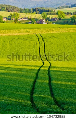 Agricultural scenery with the trace of the tractor - stock photo